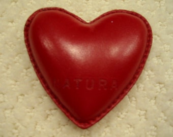 vintage  red leather heart shaped bean bag paperweight by 'Natura' . . .  gently used. . . . . excellent condition