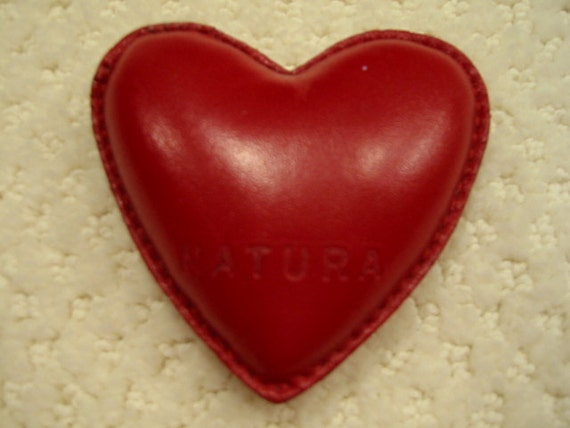 Vintage red leather heart shaped bean bag paperweight by for Hand shaped bean bags