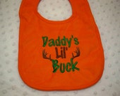 Daddy's Lil Buck Orange Bib- Perfect for the Little Hunter - Baby Boy Hunting Bib - Camo Camouflage Hunting Orange Baby Bib - Baby Boy Camo