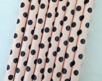 Pink Black Dot Paper Straws ~Drinking Straws ~ Cake Pop Straws ~ Set of 25 or 50
