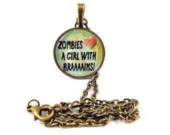 Necklace, Zombie, Brains, antique bronze