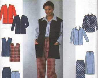 Basic Shirt, Vest, Jacket, Skirt and Pants Pattern Simplicity 8227 Size 6-10 Uncut