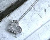 Vintage 14K White Gold Open Heart Diamond Pendant with Chain.