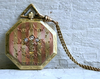 Antique 14K Rose and Yellow Gold Double Locket with Diamonds with Original Chain.