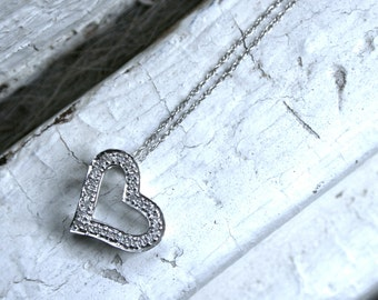Vintage 14K White Gold Open Heart Diamond Pendant with Chain.
