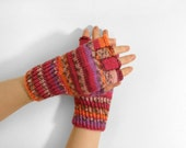 Hand Knitted Fingerless Gloves - Red, Orange, Lilac, Size Medium