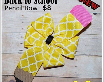 Back to school pencil bow