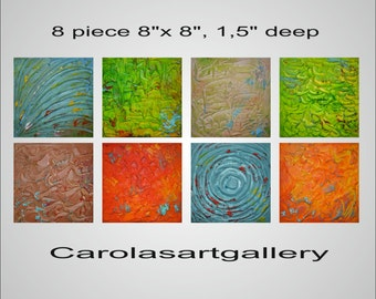 "Original Modern Abstract Painting Heavy Texture Impasto Acrylic Painting by Carola, 8 piece 8""x8"""