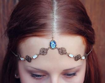 blue opal bridal head chain, something blue accessory, wedding jewelry, formal head chain