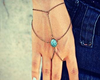 blue etched stone slave bracelet, turquoise hand chain, bracelet ring, ring bracelet, boho bracelet, hipster bracelet, slave ring
