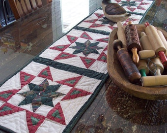 Up Cycled Quilt/Re-Purposed Quilt - Star Table Runner