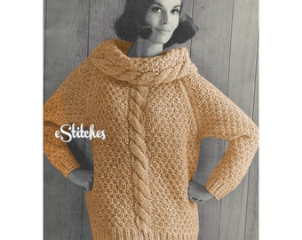 1960s Cable Knit Large Rolled-Collar, Super-Bulky Sweater - Knit pattern PDF 7827