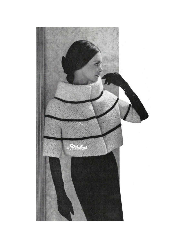 1960s High Collar Hip Length Coat or Jacket very Mod Knit