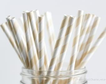 25 Ivory Cream Stripe Paper Straws - Garden Partys, Wedding, Birthday, Baby Shower, Celebrations
