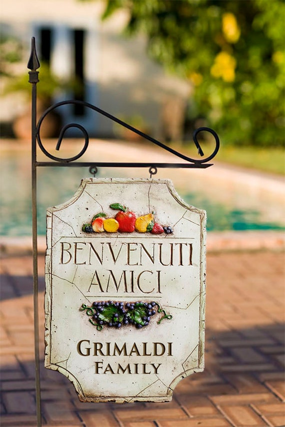 Decorative personalized yard sign with italian theme for Outdoor decorative signs