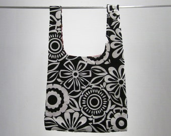 Eco friendly handmade grocery bag, durable, washable - black & white floral