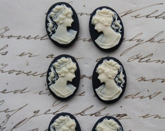 6 Unset Lady Cameos, 3 pairs  - ivory on black - 18x13mm - great for earrings LEFT AND RIGHT Cabochon Cabs Cameos