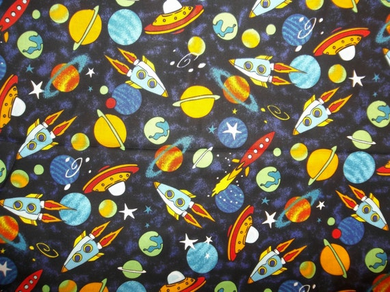 My outer space tossed rockets spaceships by for Outer space fabric by the yard