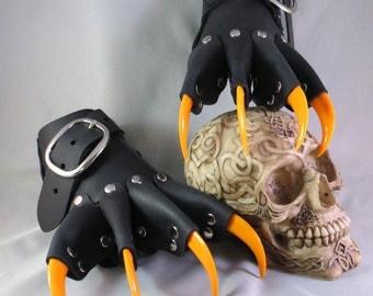 Black Leather Gothic Steampunk Orange Claw Gauntlets / Gloves