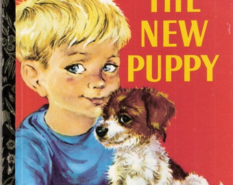 THE NEW PUPPY Vintage Childrens Little Golden Book Illustrated by Lilian Obligado