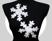 2 PCS Snowflake Patch Applique in White Sequins for Sew On and Heat Iron Transfer