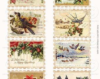 Printable Vintage Christmas Stamps Collage Sheet  1 Tags as a JPG file to download instantly by Jodie Lee
