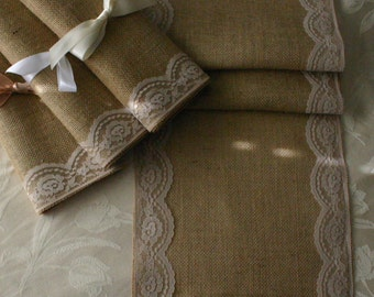Burlap and lace table runners, WEEKEND SPECIAL  burlap wedding runners