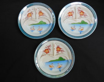 Japan Lusterware Three Tea Party Divided Dinner Plates with Swans and Orange Flowers