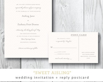 Sweet Aisling | Patterned Wedding Invitation Suite | Printed or Printable by Darby Cards