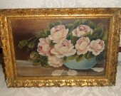 Beautiful Vintage 1800s Victorian Pink Roses Oil on Canvas in Original Gold Frame