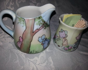 Hand painted porcelain Spring creamer and accessory cup