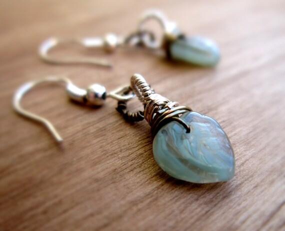 Minty Leaf Earrings Czech Glass Leaves Mint green Wire wrapped Sterling SIlver brass Dangle Spring Pastel Fashion