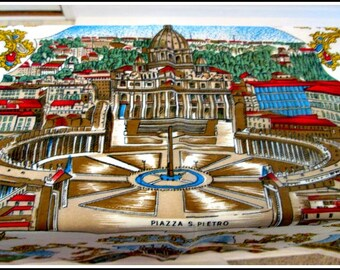 SALE - Vintage Scarf - Made In Italy - Large Souvenir Scarf With Famous Landmarks - ROMA - Colosseo - Giovanni