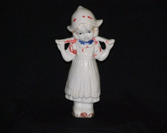 "Vintage Dutch Girl with Hat and Water Bar 7"" T Soft on Paint"