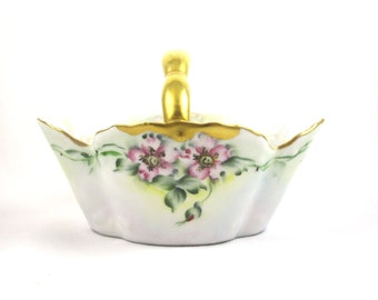 Bavarian Porcelain Floral Basket With Gold Handle and Rim