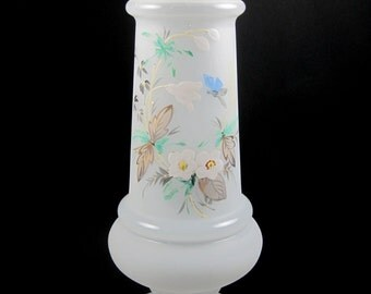 SPECIAL SALE Vintage Bristol Art Glass Vase, Hand-Painted With Gold Accents