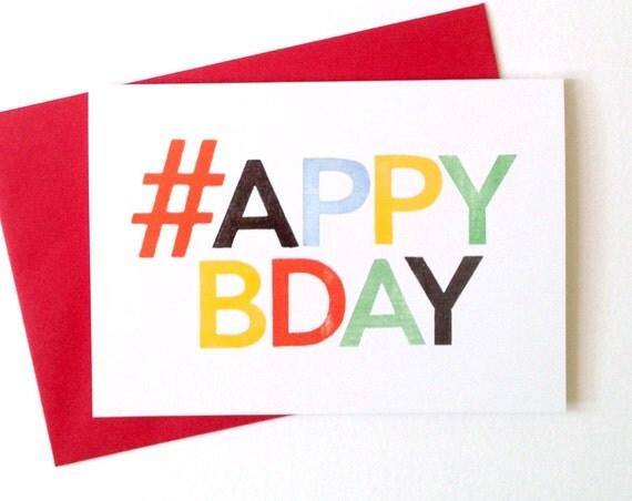 Happy Birthday Twitter Addict Card, funny birthday card, boyfriend birthday card, hash tag card, silly birthday card, birthday tweet card