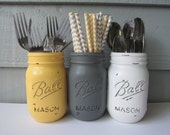 Painted and Distressed Ball Mason Jars- Yellow, Gray and White Flower Vases, Rustic Wedding, Centerpieces