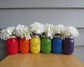 Painted and Distressed Ball Mason Jars- RAINBOW-Set of 6-Flower Vases, Rustic Wedding, Centerpieces