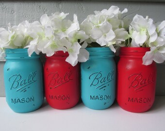 Painted and Distressed Ball Mason Jars- Bright Primary Red and Medium Turquoise-Set of 4-Flower Vases, Rustic Wedding, Centerpieces