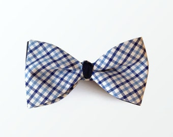 Reversible Bow Tie, Blue Gingham and Navy Double Side Bow Tie for Men, Wedding Bow Tie / READY TO SHIP