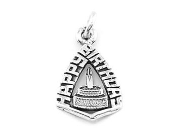Sterling Silver Happy Birthday with Cake Charm (Flat Back Lettering Charm)
