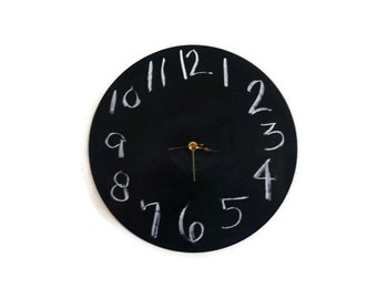 Chalkboard Clock, Decor and Housewares, Wedding Gift, Home and Living, Home Decor, Record Clock, Wall Clock, Unique Gift