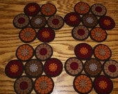 primitive hand stitched set of Fall colored coasters