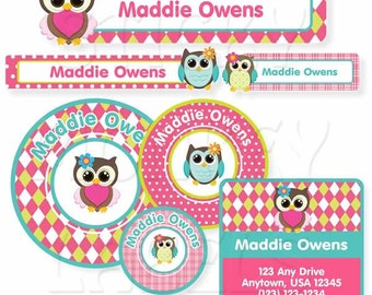 School Label Pack, Owls Girl