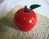 Vintage Apple Tape Measure Made in New York Cute and Whimsical 1950's Collectable Sewing Table Accessory