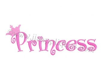 Instant Download - Princess in Boingo Font with Crown digitized embroidery design 4x4, 5x7, 6x10 hoops