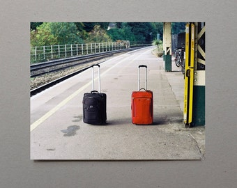 Two Bags Alone On A Train Platform Train Photography Railway Railroad Color Photography Couple Art Wall Photography Travel Photography