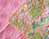 50% OFF SALE - Whimsical Pink, Yellow & Green Baby Girl Quilt