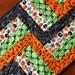 Halloween Quilted Table Runner, Black Green Orange White, Spider Web